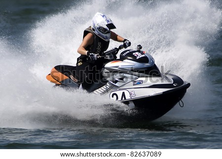 "BELGRADE-AUGUST 6:""Jet Ski Balkan Championship-2011"".Driver Silke Hummel(GER) in race:""Women's Amateur Runabout Stock"". August 6,2011 in Belgrade,Serbia."