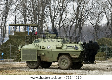 BELGRADE - FEBRUARY 13: Serbian Armed Forces Military Exercise - USCE-2011\