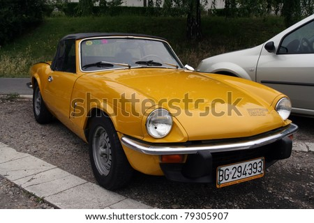 BELGRADE - JUNE 11: A Triumph Spitfire 1500 at the Oldtimer's Motor Show June 11, 2011 in Belgrade, Serbia.