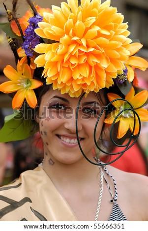 BELGRADE-JUNE 20 : BELGRADE BOAT CARNIVAL,Girl with beautiful smile,JUNE 20, 2010 in BELGRADE, SERBIA