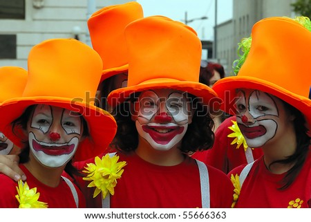 BELGRADE-JUNE 20 : BELGRADE BOAT CARNIVAL,Three clown's,JUNE 20, 2010 in BELGRADE, SERBIA