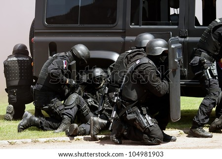 "BELGRADE-JUNE 3:""Celebration of Serbian Police day"",Anti-terrorist unit of the Serbian police in action . On June 3,2012 in Belgrade,Serbia"