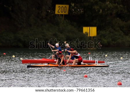 "BELGRADE-JUNE 19,""European Senior Canoe Sprint Championship"". Belarus canoe team who won in finale race C-2 500 m for women with time  01:05.130.June 19,2011 in Belgrade,Serbia"