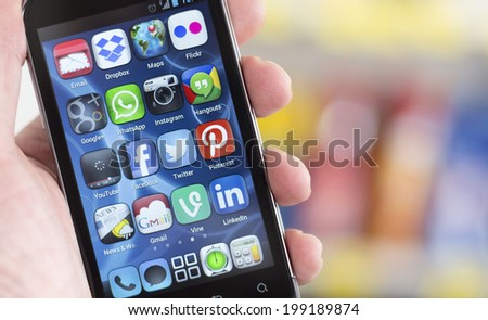BELGRADE JUNE 17 2014 Popular Social media icons on smart phone screen