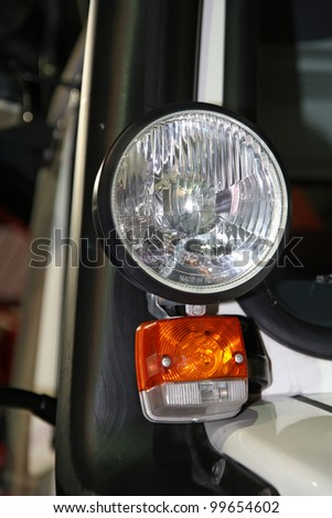 BELGRADE - MARCH 29: An Mercedes truck turn signal light on display at the 50th International Car Show on March 29, 2012 in Belgrade, Serbia.