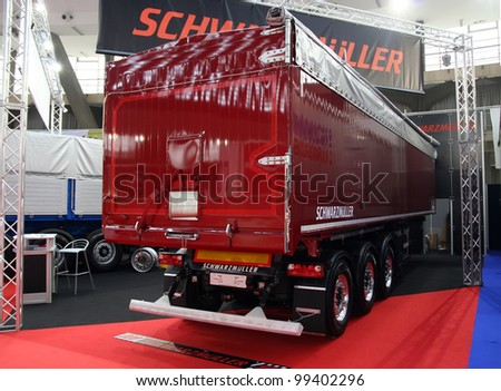 BELGRADE - MARCH 29: An Truck trailer on display at the 50th International Car Show on March 29, 2012 in Belgrade, Serbia.
