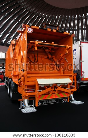 BELGRADE - MARCH 29: An Volvo garbage truck rear on display at the 50th International Car Show on March 29, 2012 in Belgrade, Serbia.