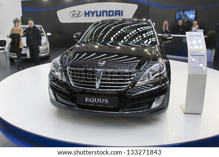 BELGRADE-MARCH 27: Car Hyundai Equus on the 51th International Belgrade car show.March 27,2013 in Belgrade, Serbia