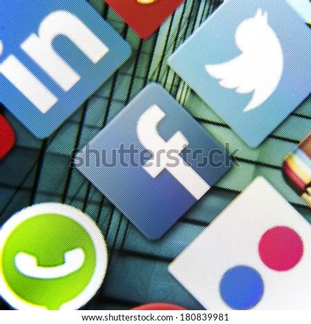 BELGRADE - MARCH 10, 2014: Social media icon Facebook and Whatsapp on smart phone screen