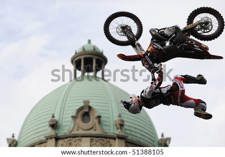 "BELGRADE - MAY 31: Biker jumps during ""Red bull fighters international freestyle motocross exhibition tour"" May 31, 2009 in Belgrade, Serbia."