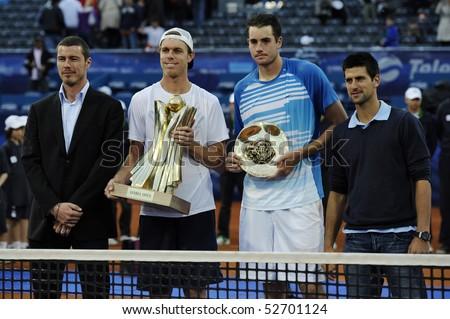 "BELGRADE - MAY 9: Marat Safin, Sam Querrey, John Isner and Novak Djokovic poses after Querrey's victory in ""Serbia Open 2010"" ATP World Tour final match May 9, 2010 in Belgrade, Serbia."