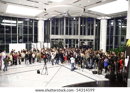BELGRADE - MAY 31: People waiting for the opening speech of the 5th Belgrade Design Week in a National Bank building. May 31, 2010 in Belgrade, Serbia.