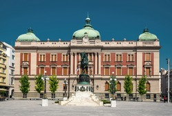 Belgrade, Republic Square, National Museum, Prince Michael historical sculpture, frontal photo by day