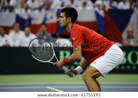 BELGRADE - SEPTEMBER 18: Novak Djokovic seen at Davis Cup Semifinals which he play with Nenad Zimonjic against Tomas Berdych and Radek Stepanek in Belgrade September 18, 2010 in Belgrade, Serbia.