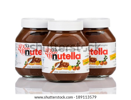 Belgrade Serbia April 24 2014 A jars of Nutella hazelnut spread isolated on white background.Nutella for Greece market April 24 2014 in Belgrade Serbia