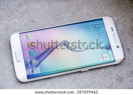 Belgrade Serbia April 23 2015 Shot of a White Pearl Samsung S6 Edge quad-core 2 7 GHz with main 16 mp Camera and 440 x 2560 pixels Display Resolution