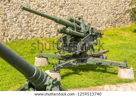 Belgrade, Serbia- 16 August 2014: Cannon guns in Belgrade Fortress, Kalemegdan Park. Military Museum exhibition. #1259513740