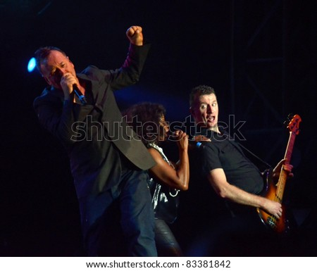 BELGRADE, SERBIA-AUGUST 18: Jim Kerr and Charlie Burchill, the core of the band Simple Minds, perform at the Belgrade Beer Fest on August 18, 2011 in Belgrade, Serbia