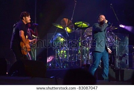 BELGRADE, SERBIA-AUGUST 18: Jim Kerr and Charlie Burchill the core of the band Simple Minds perform at the Belgrade Beer Fest on August 18, 2011 in Belgrade, Serbia.