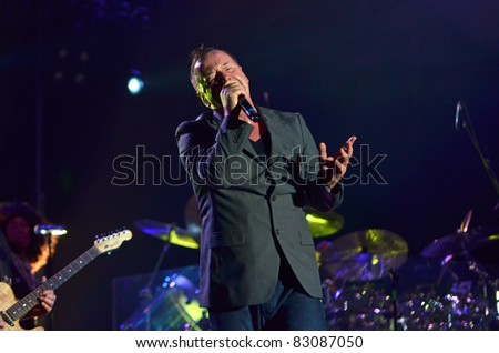 BELGRADE, SERBIA-AUGUST 18: Jim Kerr the core of the band Simple Minds performs at the Belgrade Beer Fest on August 18, 2011 in Belgrade, Serbia.