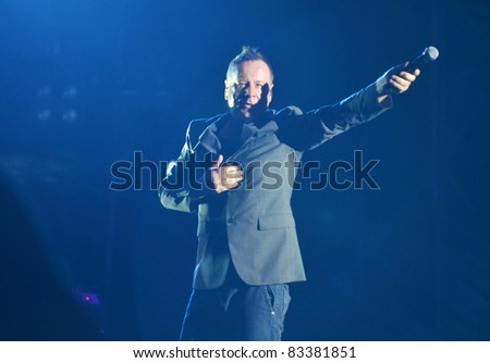BELGRADE, SERBIA-AUGUST 18: Jim Kerr,  the core of the band Simple Minds, performs at the Belgrade Beer Fest on August 18, 2011 in Belgrade, Serbia.