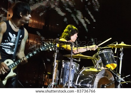 "BELGRADE, SERBIA - AUGUST 18 : MARKY RAMONE'S BLITZKRIEG band performs onstage at Belgrade BeerFest 2011 at ""Usce""  August 18, 2011 in Belgrade, Serbia."