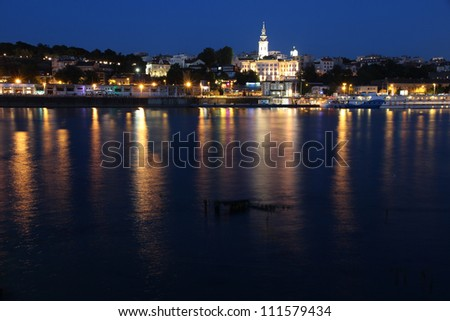 Belgrade, Serbia - capital city view at night. Illuminated cityscape. - stock photo