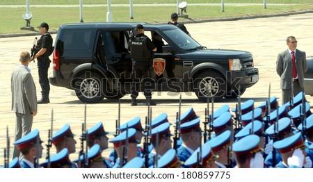 BELGRADE, SERBIA - CIRCA JULY 2010: Special police officers protects VIP person, circa July 2010 in Belgrade