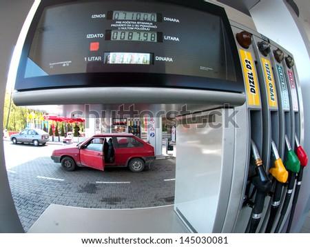BELGRADE, SERBIA - CIRCA MAY 2008: Drivers refuel at petrol station circa May 2008 in Belgrade #145030081