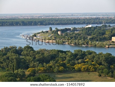Belgrade, Serbia - confluence of the Danube and Sava rivers / Delta