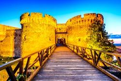 Belgrade, Serbia. Kalemegdan Fortress in the night, ancient Singidunum. Most important historical monument in Serbian capital city.