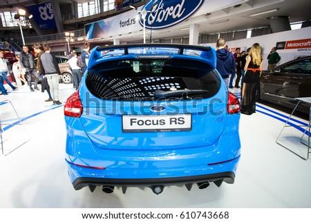 BELGRADE, SERBIA - MARCH 28, 2017 Belgrade Car Show Ford Focus RS #610743668