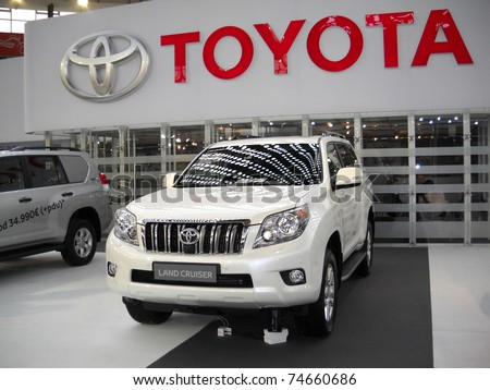 BELGRADE, SERBIA - MARCH 29: Front view of Toyota Land Cruiser car on Belgrade car show, March 29, 2011 in Belgrade, Serbia
