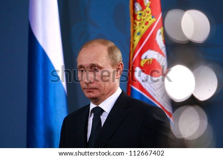 BELGRADE, SERBIA - MARCH 23. 2011 - Vladimir Vladimirovich Putin, President of Russia and former Prime Minister of Russia is attending press conference during his visit in Belgrade, Serbia. March 23 2011. - stock photo