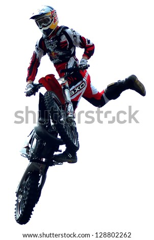 "BELGRADE, SERBIA- MAY 31: The spectacular jumps of  freestyle biker on the  ""Red Bull X Fighters International Freestyle Motocross Exhibition Tour"",  May 31,2009 in Belgrade, Serbia"
