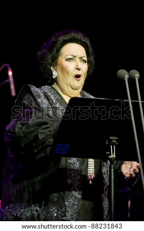 BELGRADE, SERBIA -  NOVEMBER 6: Montserrat Caballe sings with the orchestra on her solo concert in Belgrade, Serbia, November 6, 2011