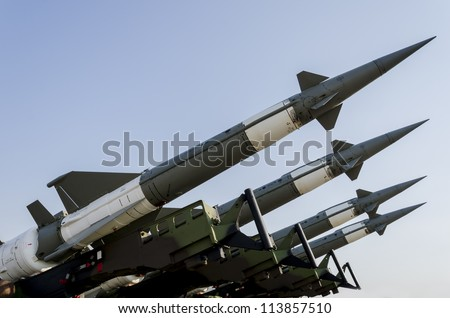 BELGRADE, SERBIA - SEPTEMBER 2: Air force missile system Neva-M on the Airshow Batajnica 2012 in Belgrade, Serbia on September 2, 2012.