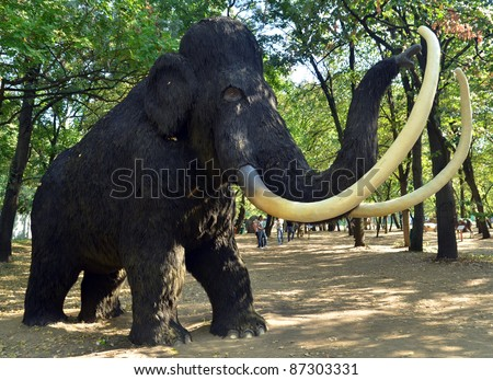 BELGRADE, SERBIA-SEPTEMBER 30:  Mammuthus Primigenius, replicas of a dinosaurs in natural size reconstructed according to the latest scientific discoveries are on display on September 30, 2011 in Belgrade, Serbia. - stock photo