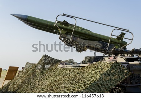 BELGRADE, SERBIA - SEPTEMBER 2: Self-propelled rocket launcher Kub on the Airshow Batajnica 2012 in Belgrade, Serbia on September 2, 2012.