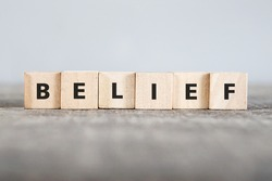 BELIEF word made with building blocks