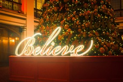 Believe Christmas sign in the Macys