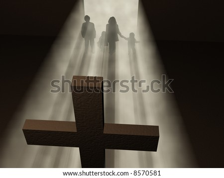 believer before a cross - stock photo