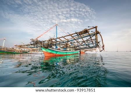Belitung Island Fishing Boats - stock photo