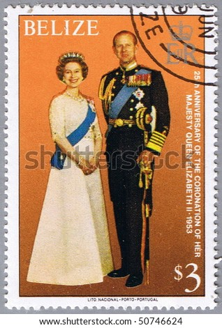 BELIZE - CIRCA 1979: A stamp printed in Belize shows the royal family, a series dedicated to 25-th anniversary of the coronation of Her Majesty Queen Elizabeth II, circa 1979