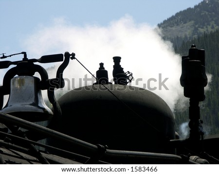 Bell and whistle on Durango to Silverton steam engine narrow gauge,train, Colorado