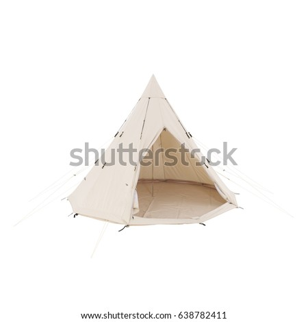 Bell Dome Tent Isolated on White Background. Orange Dome Tent on Clipping Path. Camping Tent. Alpine Tent. Camping Equipment #638782411