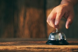 Bell on counter for service with blurred background