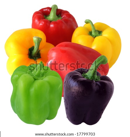 Bell pepper fruits in different color isolated on white