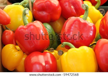 Bell pepper mix on italian food fair, Tuscany - stock photo