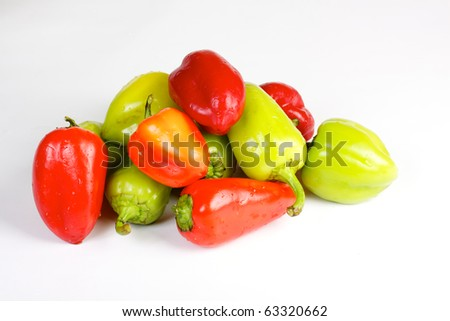 Bell pepper mix on the white background
